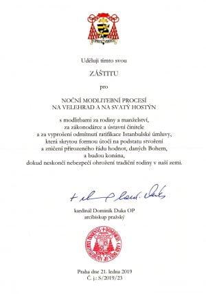 Kardinál Duka udelil záštitu nad modlitebnými procesiami českých partnerov SDZR 3