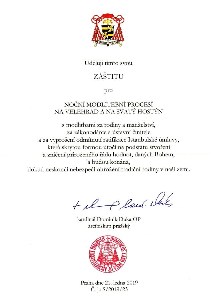 Kardinál Duka udelil záštitu nad modlitebnými procesiami českých partnerov SDZR