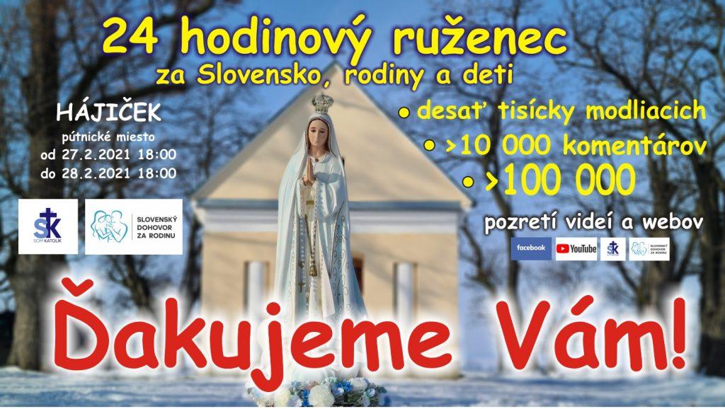 24 hodinový ruženec za Slovensko, rodiny a deti - Hájiček sobota 27.2.2021 od 18:00 1