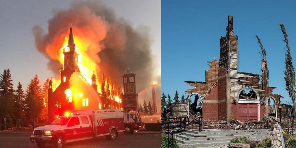 Kostoly v Kanade zámerne podpaľované a ničené. Kanadskí politici ničenie podporujú 1